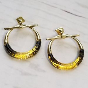 Alexis Bittar black and gold lucite hoops